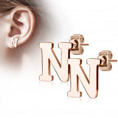"""Čelične dugme naušnice u bakrenoj boji - slovo abecede """"N"""""""