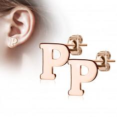 """Čelične dugme naušnice u bakrenoj boji - slovo abecede """"P"""""""