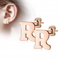 """Čelične dugme naušnice u bakrenoj boji - slovo abecede """"R"""""""