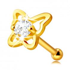Piercing za nos od 14K zlata - silueta leptira s okruglim prozirnim cirkonom, 2 mm