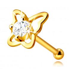 Piercing za nos od 14K zlata - silueta leptira s okruglim prozirnim cirkonom, 2,25 mm