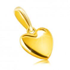 Privjesak izrađen od žutog 585 zlata  - glatko srce, površina visokog sjaja, ovalna kopča