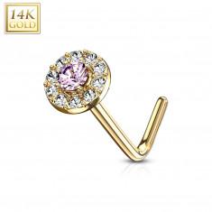 Savijeni piercing za nos od 14K zlata - ružičasti cirkon okviren manjim prozirnim cirkonima
