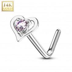 Savijeni piercing za nos izrađen od 14K bijelog zlata - kontura u obliku srca s ružičastim cirkonom