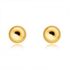 Dugme 14K zlatne naušnice – glatke, sjajne kuglice