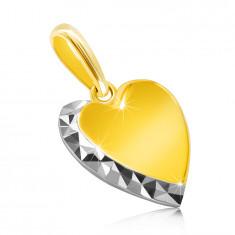 Privjesak izrađen od kombiniranog 14K zlata - glatko srce, svjetlucava linija