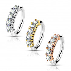 Čelični piercing za nos, uho - sjajni prsten, pet okruglih cirkona, 1,2 mm
