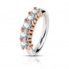 Čelični piercing za nos, uho - sjajni prsten, pet okruglih cirkona, 1 mm