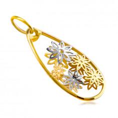 Privjesak izrađen od kombiniranog 14K zlata – oblik velike suze, rezbareno cvijeće