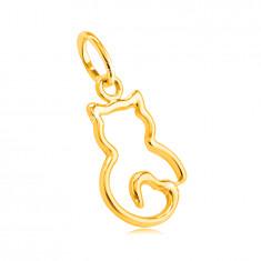 14K privjesak od žutog zlata - tanki obris mačića s repom u obliku srca