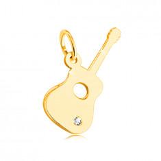 14K privjesak od žutog zlata - gitara s prozirnim cirkonom u donjem dijelu
