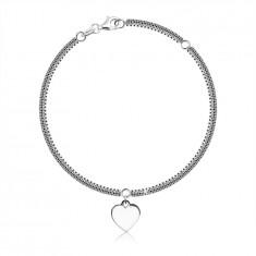 925 Srebrna narukvica – lančić s motivom šahovnice, karike kvadratnog oblika, srce