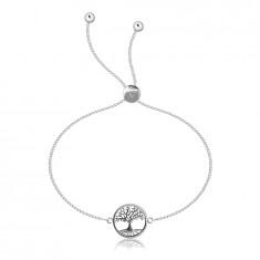 Podesiva 925 srebrna narukvica - četvrtasti lančić, drvo života u krugu