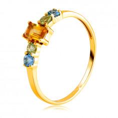 Prsten od 14K žutog zlata - kutni citrin, okrugli olivin i švicarski topaz