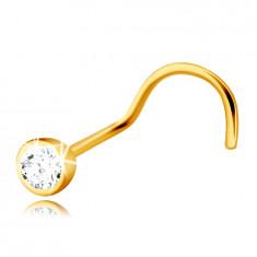 14K dijamantni piercing od žutog zlata, zakrivljeni - briljant u okruglom okviru, 2 mm