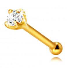 Dijamantni piercing za nos od 585 žutog zlata, ravni - svjetlucavi briljant u okviru, 1,75 mm