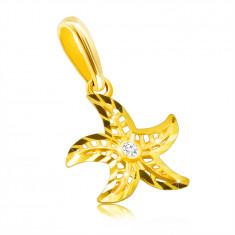 14K dijamantni privjesak od žutog zlata - motiv morske zvijezde, okrugli prozirni briljant