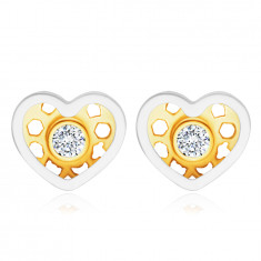 Dijamantne 14K zlatne naušnice, kombinirano zlato - srce, okrugli prozirni briljanti
