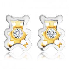 Kombinirane 585 zlatne dijamantne naušnice - medvjedić s prozirnim briljantom