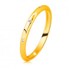 Dijamantni prsten od žutog 14K zlata - okrugli prozirni dijamanti, glatke površine