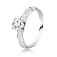 925 Srebrni prsten - okrugli cirkon u nosaču, cirkonski krakovi koji se šire