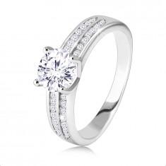 925 srebrni prsten, zaručnički - dvije cirkonske linije, okrugli cirkonski cirkon u sredini
