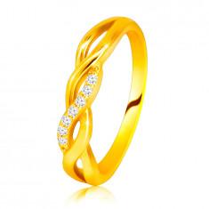 Blistavi prsten od žutog 14K zlata – isprepleteni valovi, linija brilijanata