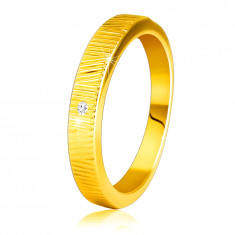 Dijamantni prsten od 14K žutog zlata - fini ukrasni urezi, prozirni briljant, 1,5 mm