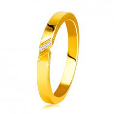 Dijamantni prsten od žutog 14K zlata prsten s finim urezom, prozirni briljanti