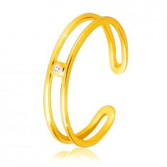 Dijamantni prsten od žutog 14K zlata, - tanki otvoreni krakovi, prozirni briljant
