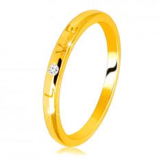 """14K Dijamantni prsten od žutog zlata - natpis """"LOVE"""" s briljantnom, glatkom površinom, 1,5 mm"""
