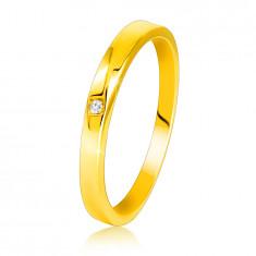 585 Dijamantni prsten od žutog zlata - blago zakošeni krakovi, prozirni briljant