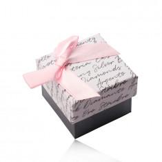 Poklon kutija s mašnom za naušnice ili prsten - bijelo-antracit kombinacija, natpis