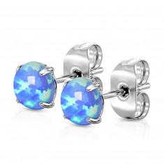Čelične naušnice - plavi okrugli sintetički opal, pričvršćivanje iglicom sa leptir osiguračem