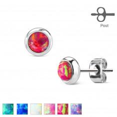 Naušnice od kirurškog čelika - sintetički opal u nosaču, razne boje, 6 mm