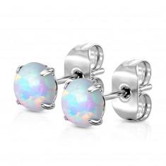 Čelične naušnice - plavi okrugli sintetički opal, dugmad