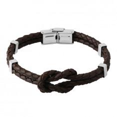 Tamno smeđa kožna narukvica - čvor od dvije žice, metalne stezaljke, pričvršćivanje kopčom za sat
