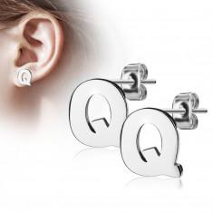 Čelične naušnice srebrne boje – veliko slovo Q, visoki sjaj