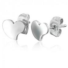 Naušnice izrađene od čelika srebrne boje - asimetrična srca