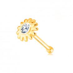 Dijamantni piercing za noss od 585 žutog zlata - cvijet briljantne bistre boje
