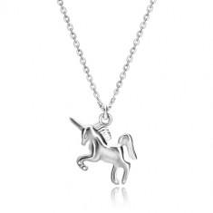 925 srebrna ogrlica - jednorog u galopu, lančić od ovalnih karika