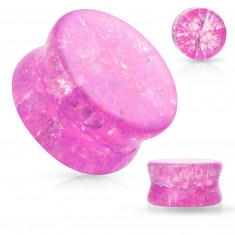 Stakleni čep za uši sa zaobljenim rubovima, prozirni, ružičaste boje, efekt slomljenog stakla