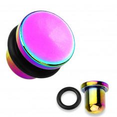 Čep za uši izrađen od čelika 316L i titana u duginoj boji, crna gumica, različitih debljina