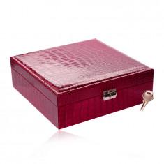 Pravokutna kutija za nakit u tamno ružičastoj boji - imitacija krokodilske kože, kopča, ključ