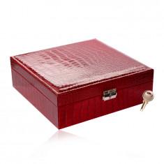 Pravokutna kutija za nakit u crvenoj boji - imitacija krokodilske kože, kopča, ključ