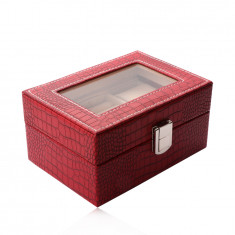 Pravokutna kutija za nakit u crvenoj boji - imitacija krokodilske kože, kopča
