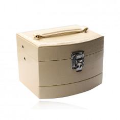 Kutija za nakit u kremastoj boji od eko kože, kutija na tri nivoa, krokodil uzorak, kopča