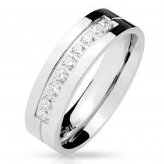 Čelični prsten u srebrnoj boji, devet prozirnih cirkona u urezu, sjajna površina, 6 mm