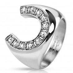 Prsten od nehrđajućeg čelika, velika potkova ukrašena cirkonima