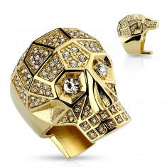 Masivni 316L čelični prsten, zlatne boje, lubanja, prozirni kristali